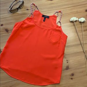 Jessica Simpson, coral blouse w braided straps
